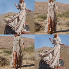 2017 Lente Zomer Vrouwen Vintage Elegante Diepe V-hals Boho lange maxi dress hippie dress sexy dames chiffon bloemenprint Split