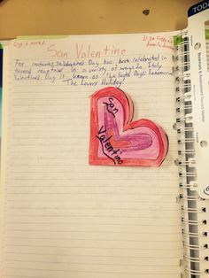 Italian cuore (heart) foldable in a year 8 Interactive Notebook.