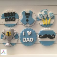 Happy Fathers Day Cupcake Toppers. Fathers Day edible Cupcake ideas http://stores.ebay.co.uk/Gem-Cakes-of-Liverpool