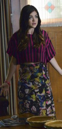 Aria's pink striped cropped tee and floral skirt on Pretty Little Liars.  Outfit Details: http://wornontv.net/36588/ #PLL
