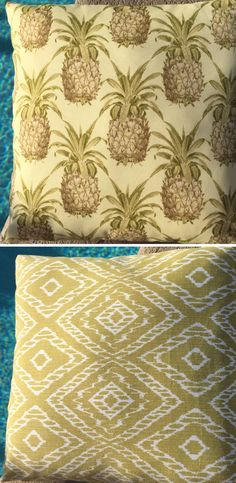 Reversible outdoor pillow covers double your decor options! Pineapple print reverses to tribal diamond print. Invisible zipper closure at bottom. Perfect for pool, patio, boat & indoor. Summer luau party! Handmade in Orlando, Florida!