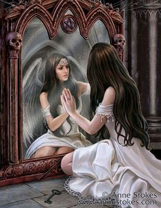 Magic Mirror artwork by Anne Stokes-----What's this girl's story?