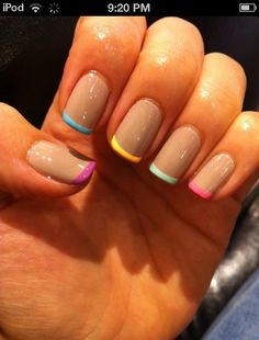 Different colored French manicure