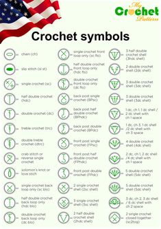 Beginning Crochet Crochet symbols for print - Simple guide to different crochet symbols, charts, diagrams, abbreviations and how to read them. American crocheting abbreviations and it's differences Crochet Instructions, Crochet Diagram, Crochet Chart, Crochet Basics, Knit Or Crochet, Learn To Crochet, Double Crochet, Crochet Hook Sizes Chart, Chrochet
