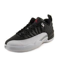34270425ef9a3e Jordan Air 12 Retro Low Men s Shoes Black White Metallic Silver Varsity Red