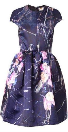 Floral-print Duchess-satin Dress