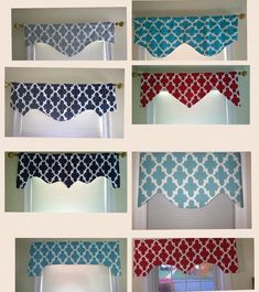 Valance, window aprons, scalloped valance, decorative valance window, modern with beautiful geometric trellis design and an attractive cut that can be used along or over an animal or other panel. Other color options available. CUSTOM ORDERS will be Window Treatments, Decor, Window Decor, Window Valance, Curtains, Diy Curtains, Curtain Patterns, Home Decor, Valance Window Treatments