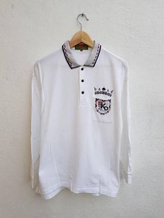 aed6b1521 Vintage 90s KENZO Golf Embroidered Crown Logo Long Sleeve Polo Sportwears  Style Vtg Men's Casual Pol
