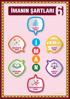 İmanın Şartları Amentü Duası İçeriği 5 Pillars, Pillars Of Islam, Ramadan Activities, Preschool Activities, Teaching Kids, Kids Learning, Learn Turkish, Islam For Kids, Alphabet For Kids