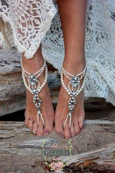 Strandsandalen Hochzeit barfuß, barfuss Sandalen Pearl, Bridal Jewelry barfuss Sandalen, Pearl und Strass Strandsandalen Hochzeit barfuß