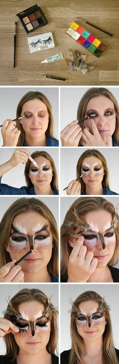 Makeup Halloween -                                                              Need a jolt of last-minute #Halloween inspiration? We're 'owl' over it. #makeup #tutorial