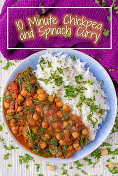 This healthy 10 Minute Chickpea and Spinach Curry is an easy vegan curry that you need in your life. It's low in calories and fat and you just tip everything in to the pan and it's ready less than 10 minutes later. Bursting with iron rich spinach and prot Spinach Recipes, Veggie Recipes, Indian Food Recipes, Cooking Recipes, Healthy Recipes, Protein Rich Recipes, Iron Rich Recipes, Low Calorie Vegetarian Recipes, Low Calorie Vegan