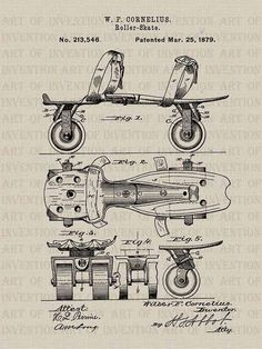 Roller Skates Drawing - Roller Skate Patent Drawing From 1879 - Vintage by Aged Pixel Vintage Ephemera, Vintage Paper, Vintage Art, Poster Vintage, Camera Drawing, Foto Transfer, Patent Drawing, Vintage Drawing, 3d Models