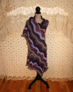 Purple Shawl Large Triangle Shawl Knit Hippie by MagpieandOtis