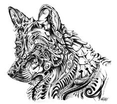 Something completely out of my style; it's an abstract Mexican Wolf! Black ball point pen | App. 3 hours | Art (C) Me