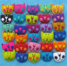 Kooky Kat Brooch (or Ornie) BY Kool Kooky Kreatures Each pin measures 2 W X H. The pins are made completely by hand using wool felt & cotton embroidery thread. The listing is for ONE pin brooch. Fabric Crafts, Sewing Crafts, Sewing Projects, Craft Projects, Craft Ideas, Cat Crafts, Crafts For Kids, Summer Crafts, Felt Cat