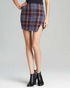 AQUA Skirt - Plaid Zip Asymmetrical | Bloomingdale's