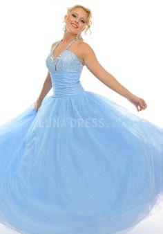 Tulle Ball Gown Halter Empire Sleeveless Prom Dress