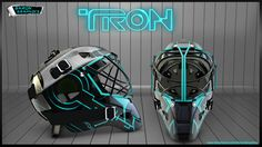 Next time you lace up and get your ass out on the ice, how about you look like TRON while you high stick your opponents right off the grid. This helmet design was created by BARON GRAPHICS. Hockey Helmet, Hockey Goalie, Football Helmets, Helmet Design, Mask Design, Dystopian Fashion, Usa Hockey, Post Apocalyptic Fashion, Goalie Mask