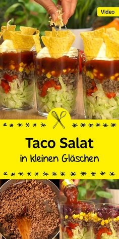 A real hit for the next party buffet: the Mexican .- Ein echter Hit für das nächste Partybuffet: der mexikanische Taco Salat wird d… A real hit for the next party buffet: the Mexican taco salad will not only visually convince your guests! Taco Salad Recipes, Salad Recipes For Dinner, Vegetarian Salad Recipes, Appetizer Recipes, Snack Recipes, Authentic Mexican Recipes, Mexican Food Recipes, Tacos Mexicanos, Mexican Tacos