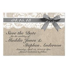 White Lace & Burlap Wedding Save the Date Custom Announcement