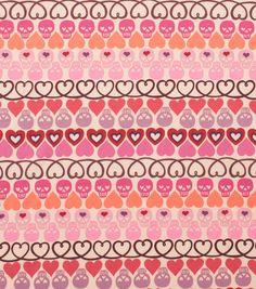 Alexander Henry Cotton Fabric-Hearts   Bones Tea