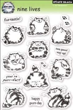 "Nine Lives Penny Black Clear Stamps 5""X7.5"" Sheet PB30050"