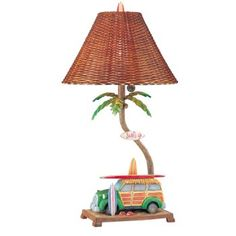 This is the perfect beach house lamp. The lamp feature is a vintage station-wagon accented with surfboards and sandals. The lamp shade finishes off the tropical look with a weaved pattern. Tropical Area Rugs, House Lamp, I Love Lamp, Beach Themes, Beach Ideas, Cocoa Beach, Beach House Decor, Home Decor, Contemporary Area Rugs