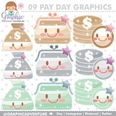 75%OFF - Money Clipart, Money Graphics, COMMERCIAL USE, Kawaii Clipart, Planner Accessories, PayDay Clipart, Pay Day Clipart, Purse Clipart