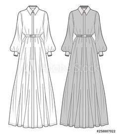 skizzen zeichnen DRESS fashion flat sketch template - Buy this stock vector and explore similar vectors at Adobe Stock Dress Design Sketches, Fashion Design Drawings, Fashion Sketches, Fashion Flats, Hijab Fashion, Fashion Art, Fashion Sketchbook, Fashion Drawing Dresses, Fashion Dresses