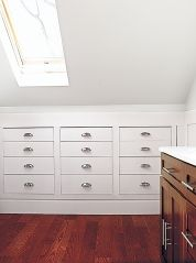 Storage: Recess it into Knee Walls Perimeter drawers, cabinets, and cubbies save space. Get the how-to on recessing a chest of drawers.