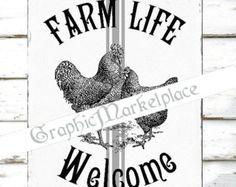Ferme vie Bienvenue coq poule Ferme Grain sac grande Image instantanée Télécharger Vintage transfert tissu numérique collage feuille imprimable no 1914