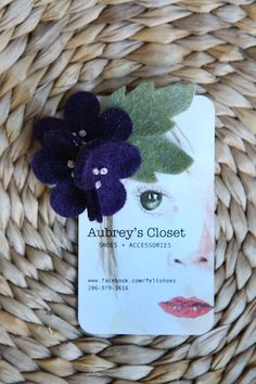 Purple Felt Flower Hair clip $5