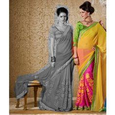 Yellow & Pink Bhagalpuri Silk Saree