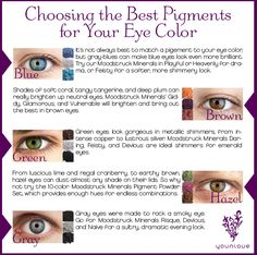 Choose the Best #Younique Pigments for Your Eye Color!  www.youniquebyjenniferpatterson.com https://www.facebook.com/youniquebyjenniferpatterson