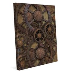 Click Wall Art Rusted Tin Gears Framed Graphic Art on Wrapped Canvas Size: