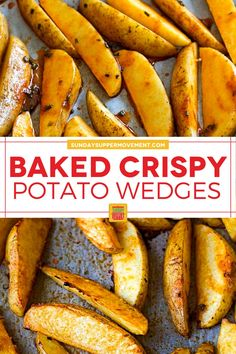 Baked Crispy Potato Wedges are a perfect side dish! They are crispy on the outside but soft on the inside and so tasty. #SundaySupper #potatowedges #crispy #bakedpotatowedges #wedges #crispywedges #bakedwedges #sidedish Crispy Baked Potato Wedges, Easy Baked Potato, Roasted Potato Wedges, Potato Wedges Recipe, Crispy Potatoes, Twice Baked Potatoes, Bison Burger Recipe, Burger Recipes, Tasty Potato Recipes