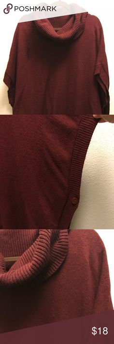 Burgundy Poncho This warm poncho will keep you warm and pretty! Use it with leggings and boots, you have a mice outfit! The sleeve will go 3/4. It's XL but easily fit a 2x. 🌺  🌺 Offers always accepted! 🌺 Sisters Jackets & Coats
