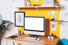 decoração amarela no escritório