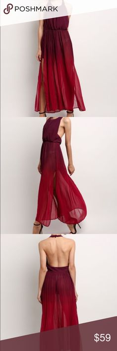 Ombré halter chiffon dress Ombré halter chiffon dress. Semi sheer needs a half slip for the bottom. Has slit on either side of dress.  New without tags retail. Never worn. No flaws or signs of wear. Ships within a week. ShopNicety Dresses Maxi