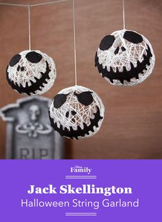 Can't get enough of Jack Skellington's ghoulish grin? Replicate the Pumpkin King with an easy DIY craft, and watch as your home transforms into Halloween Town with the help of this hanging garland.