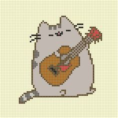 Pusheen Guitar Cross Stitch