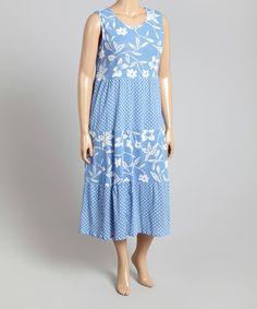 Loving this Blue Floral Scoop Neck Tank Dress - Plus on #zulily! #zulilyfinds