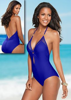 Mesh and keyhole details gives a whole new meaning to this one-piece! Venus ringed fishnet one-piece.