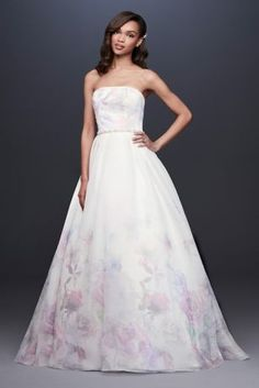 For the bride who embraces tradition with a twist, this organza ball gown wedding dress features a muted watercolor floral print. A touch of clear sequins and beading on the bodice outlines the blosso Floral Wedding Gown, Wedding Dress Prices, Wedding Dress Organza, Perfect Wedding Dress, Bridal Wedding Dresses, Wedding Dress Styles, Bridal Style, Dream Wedding, Modern Talking