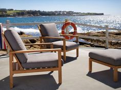 Eco Outdoor Burleigh easy chairs and ottoman in Outdoor Linen. Outdoor furniture | Patio furniture | Outdoor dining | Teak outdoor | Outdoor design | Outdoor style | Outdoor luxury | Designer outdoor furniture | Outdoor design inspiration | Pool side furniture | Outdoor ideas | Luxury homes | Linen