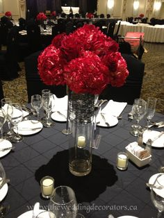 Red wedding flowers, red hydrangeas.  Red centrepieces.