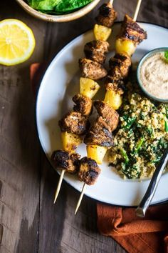 Paleo Indian Chicken Kebabs are marinated and then grilled. Serve with cauliflower rice. A fantastic weeknight dinner! Click through for recipe!