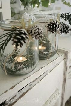 Canning jars- epson salt-tealights and greens