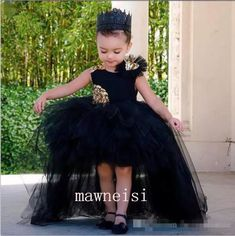Lovely Black High Low Girls Pageant Gowns 2018 Gold Sequins Tulle Ball Gown Flower Girl Dresses For Wedding Baby Birthday Party Dress Cheap Kids Flower Girl Dresses, Girls Pageant Dresses, Pageant Gowns, Little Girl Dresses, Little Girls, Blue Ball Gowns, Tulle Ball Gown, Tulle Dress, Tulle Skirts